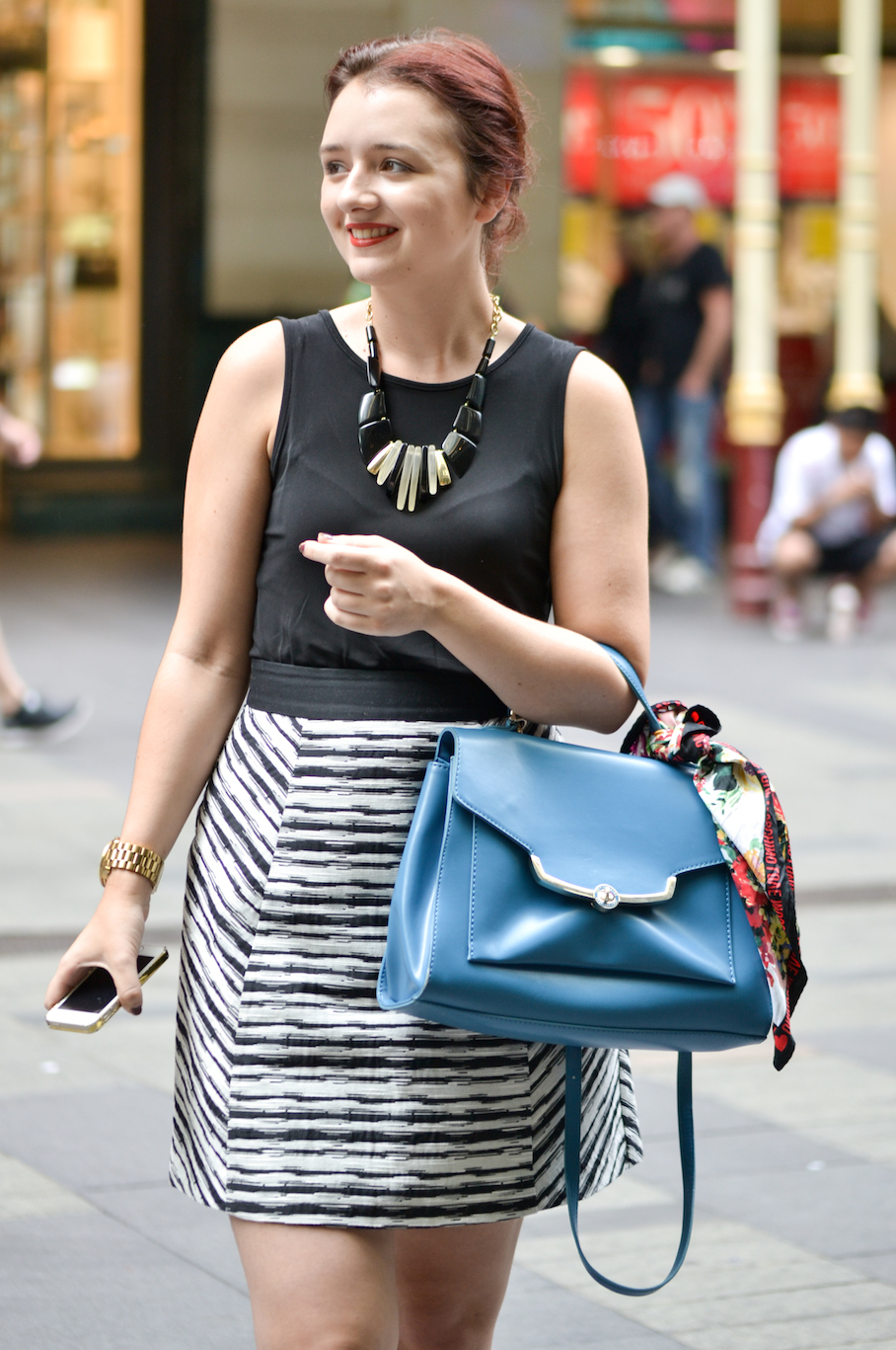 "NSW: Alarna Hope, Fashion Stylist, Pitt St Mall. ""I like a tailored, polished style with a pinch of colour."" Photo: Alice Sciberras"