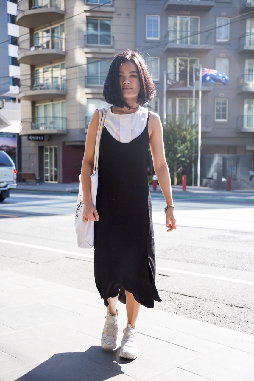 "VIC: Adlina Zatalinu, Chapel St, South Yarra. ""I like to dress in layers but no more than three colours - I don't like to stand out in a crowd."" Photo: Libby Matson"