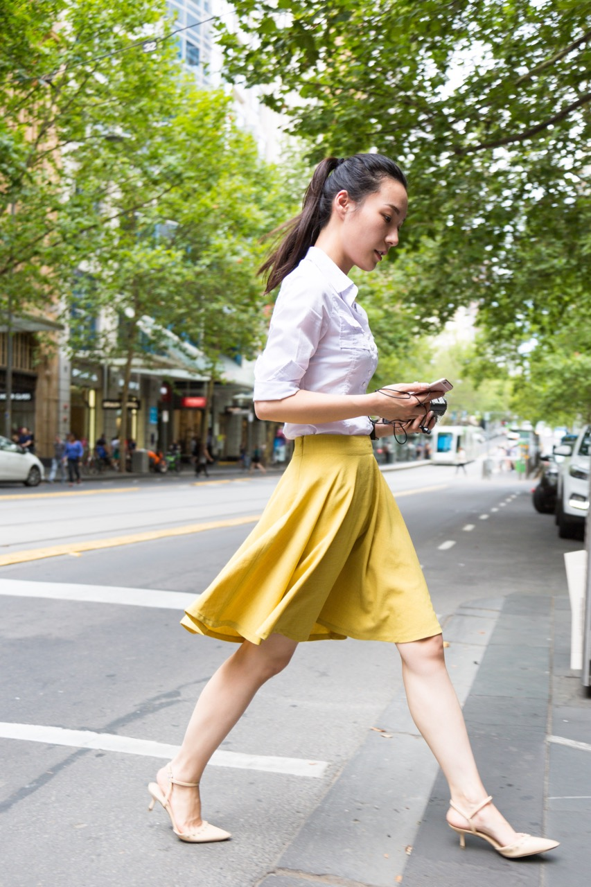 "VIC: Renee Jiang, Collins St, Melbourne. ""I always dress comfortable and stylish for work but I love to wear heels!"" Photo: Libby Matson"