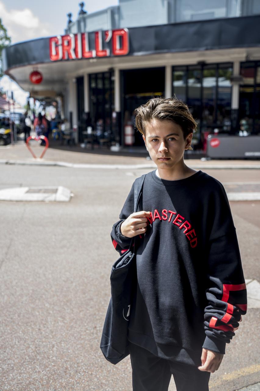 """WA: Kai, student, Oxford Street, Perth. """"I like streetwear type clothing."""" Photo: Strato Sarris"""