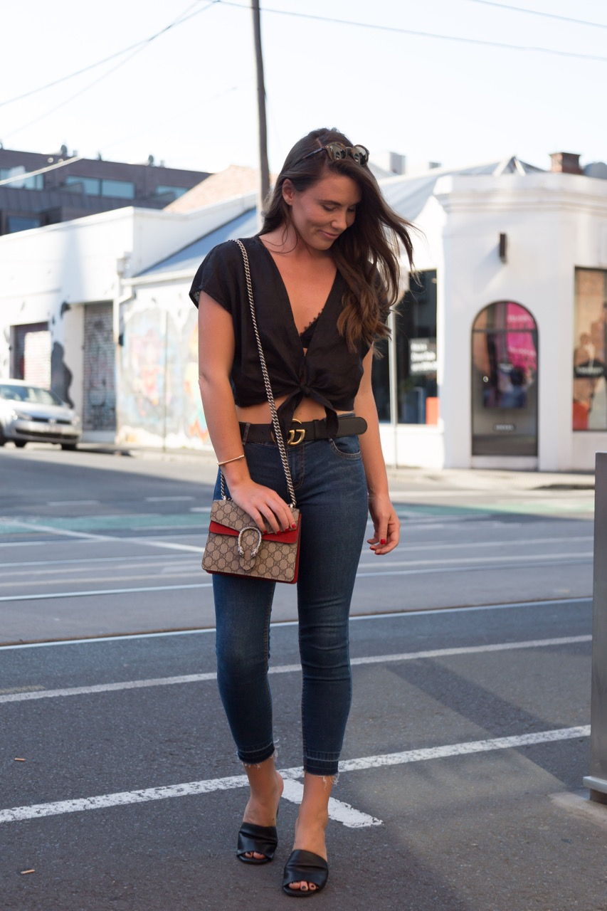 "VIC: Jemima Courtney, Chapel St, Melbourne. ""I'd describe my style as casual-chic."" Photo: Libby Matson"