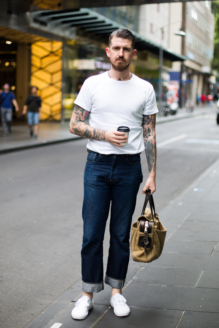 "VIC: Steve Barklia, Showroom Manager, Melbourne. ""Practical work wear."" Photo: Zoe Kostopoulos"