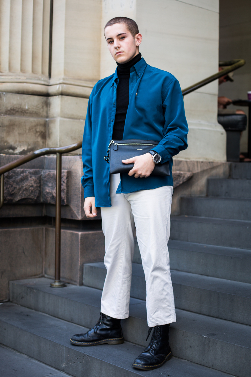 """VIC: Nathan Monte, Student, Elizabeth St, Melbourne. """"Wear clothes to make people look and questions."""""""