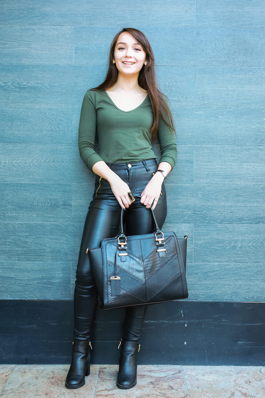 """WA: Natasha Bujono, Student, Murray St Mall. """"I like dark colours. Embrace your natural looks that you're all blessed with."""" Photo: <a href=""""http://www.rahstudios.com.au/street-style.html/"""" target=""""_blank"""">Alain Quah</a>"""