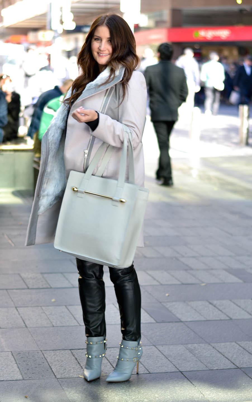 "NSW: Juli Grbac, designer, Pitt St Mall. ""My personal style is feminine chic."" Photo: Alice Scriberras"