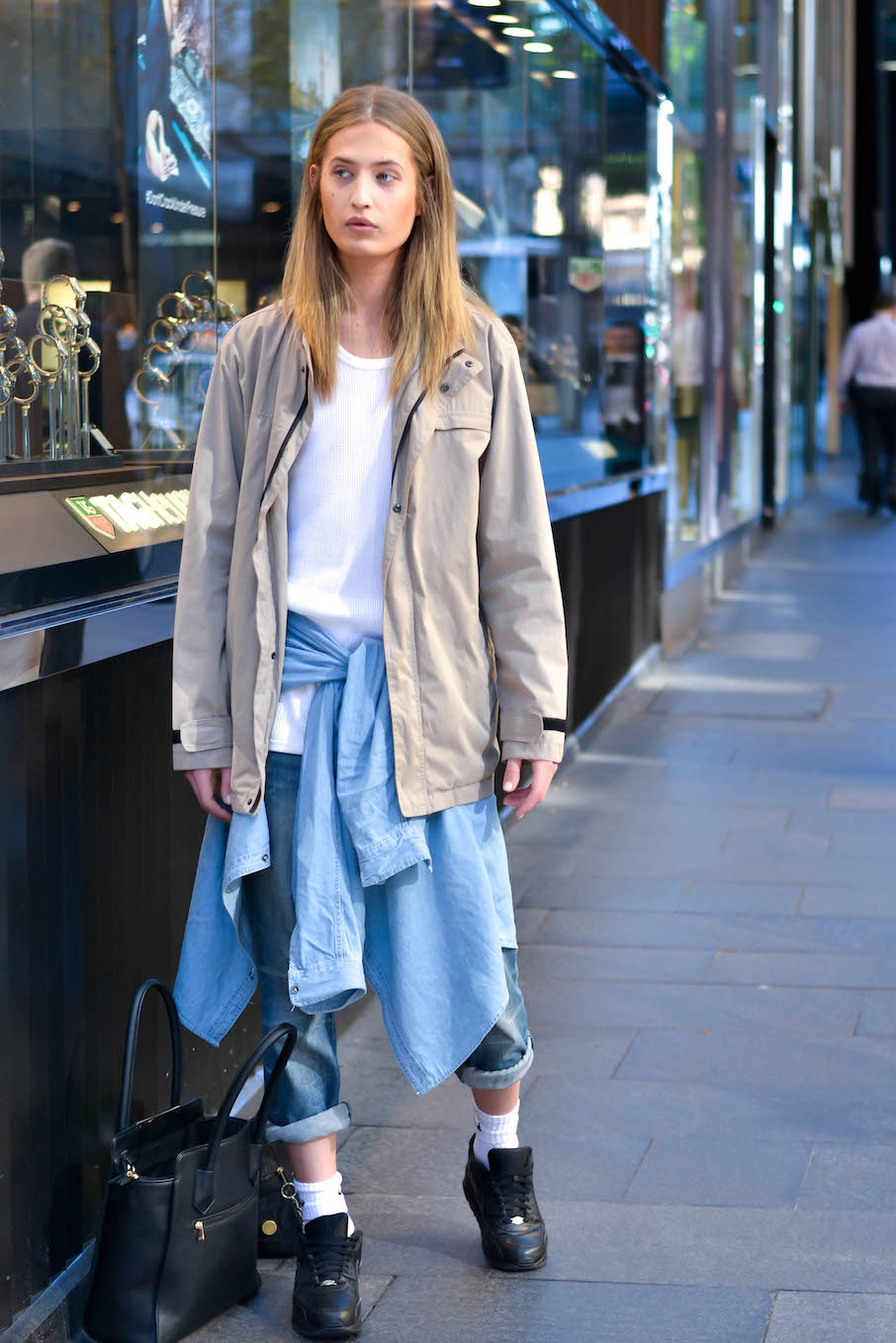 """NSW: Jordan Olaf, barista & model, out front of Myer. """"I'd describe my style as modern, luxury, 2001, future."""" Photo: Alice Scriberras"""
