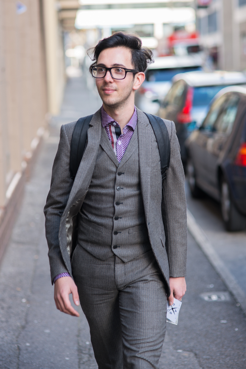"SA: Paul Yiallouros, public servant, Rundle St. ""Tweed is an underrated fabric."" <a href=""http://www.foxowlphotos.com/"" target=""_blank""> Photo: John Wilson </a>"