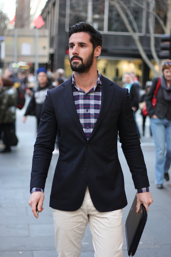 """Vic: Adam Wollaston, student, Collins St, Melbourne. """"My style's half dapper gent half lumberjack."""" <a href=""""http://www.marythamphotography.weebly.com/"""" target=""""_blank""""> Photo: Mary Tham </a>"""