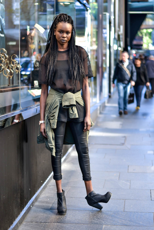 "NSW: Yaya Deng, model & actress Sydney CBD. ""I'd describe my style as 'diluted modern  Hip Hop'."" Photo: Alice Scriberras"