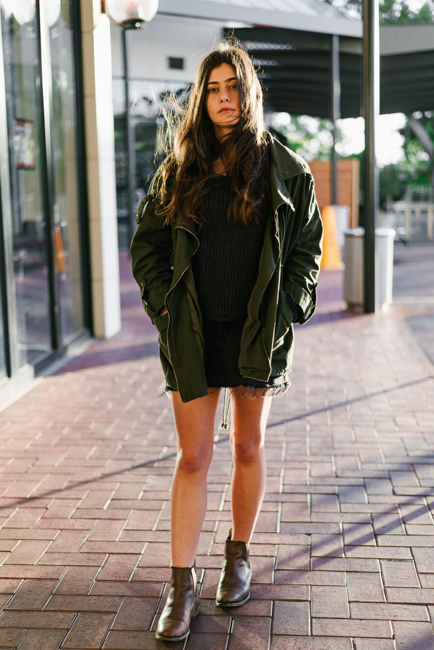 "SA: Kat Romeo, Burnside Village. ""I like to wear vintage jackets that make me look like I live in a cabin with my dog and a rifle."""