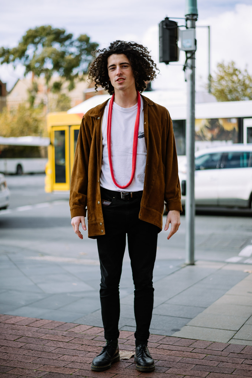 "SA: Toby Barnfield, snapped on the corner of North Terrace and Pultney Streets. ""My style's Elizabethan."""