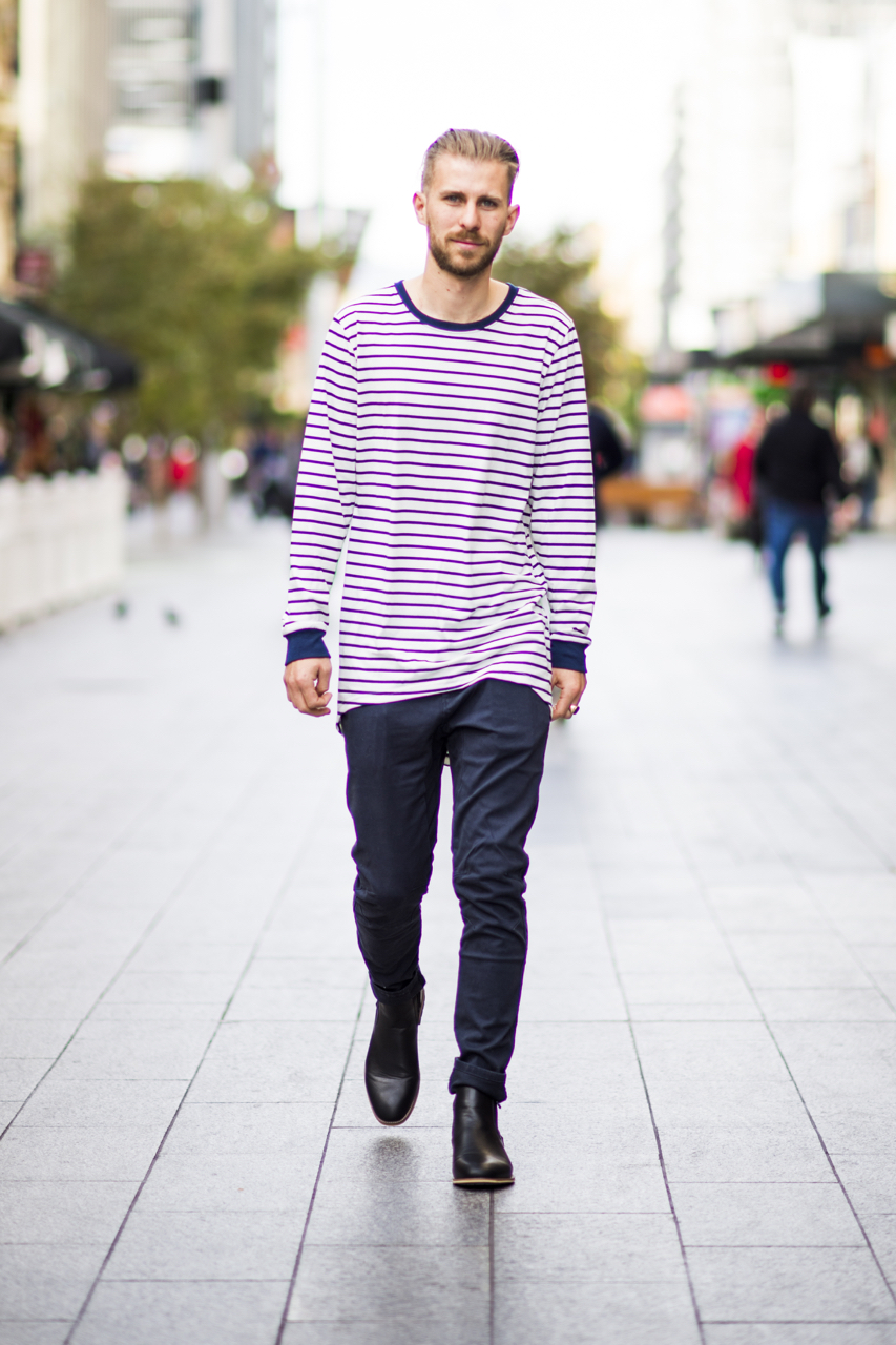 "SA: Benjamin Potter, teacher, Rundle Mall. ""I like a smart look with a touch of rock."" Photo: Eli Francis"