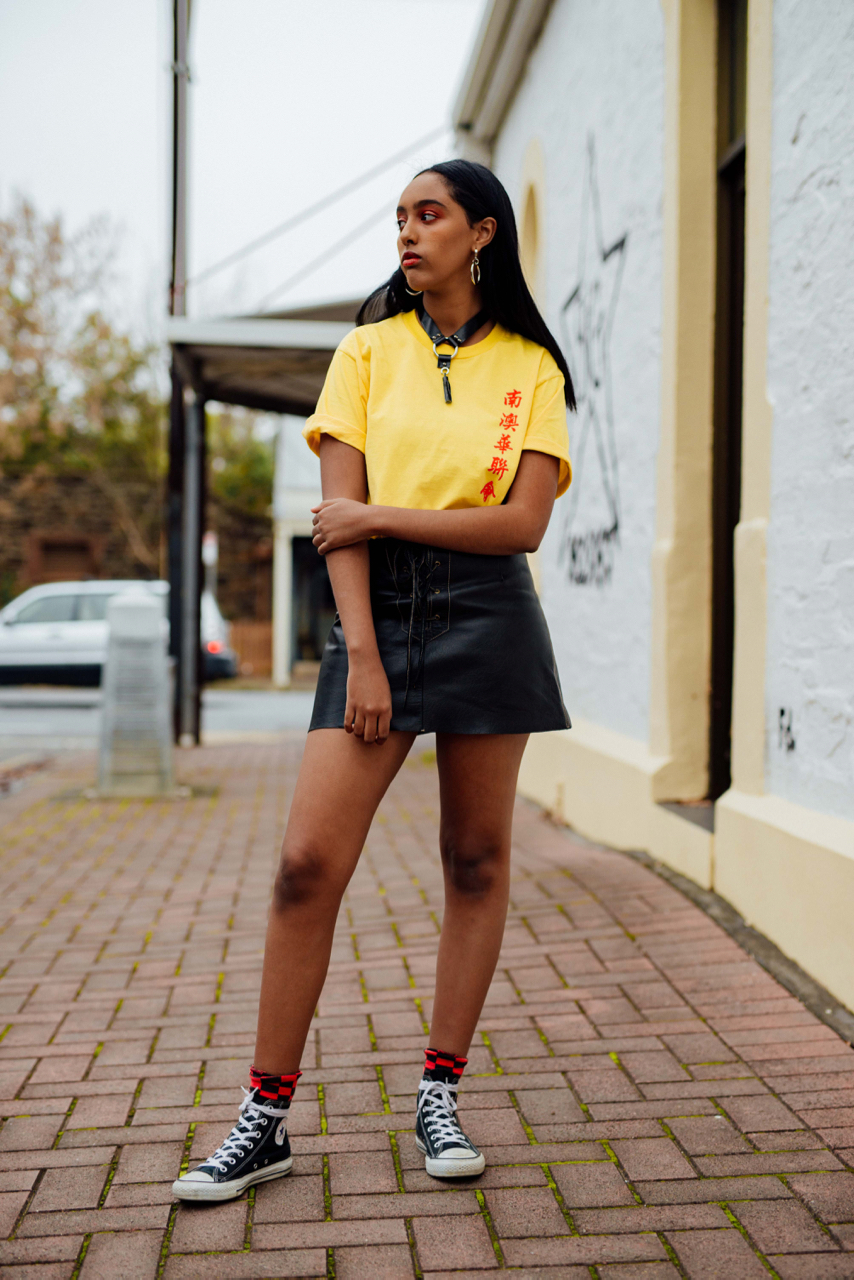 "SA: Emanuela, student, Magill Rd. ""My style changes with my mood. Some days i feel like dressing up tomboyish and some days imma full girly girl, it varies."""