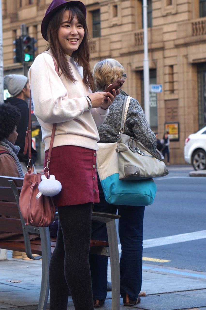 SA: Haiyue Zhang, Media Student, snapped at a bus stop, Grenfell St Adelaide.