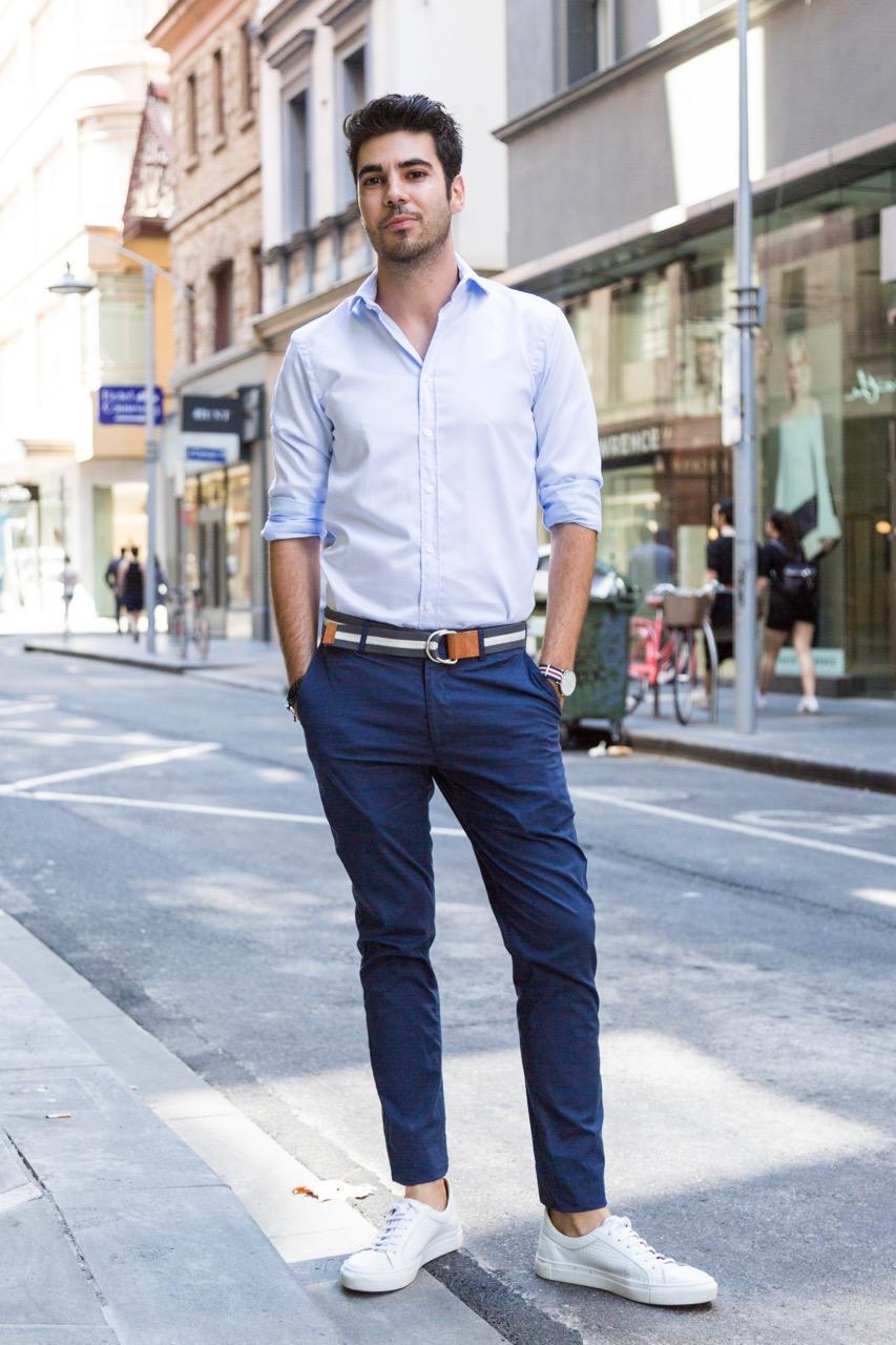 "VIC: Michael Hammond, retail assistant, Little Collins St. ""I dress smart but fun."" Photo: Libby Matson"