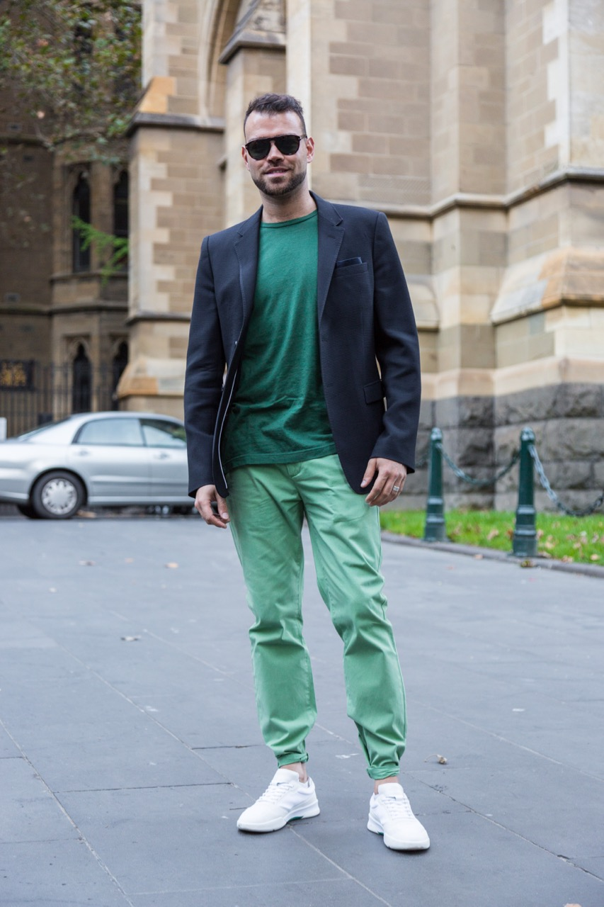 """VIC: Luis Conticelli, Flinders Lane, Melbourne. """"I like high quality, casual styles."""" Photo: Libby Matson"""