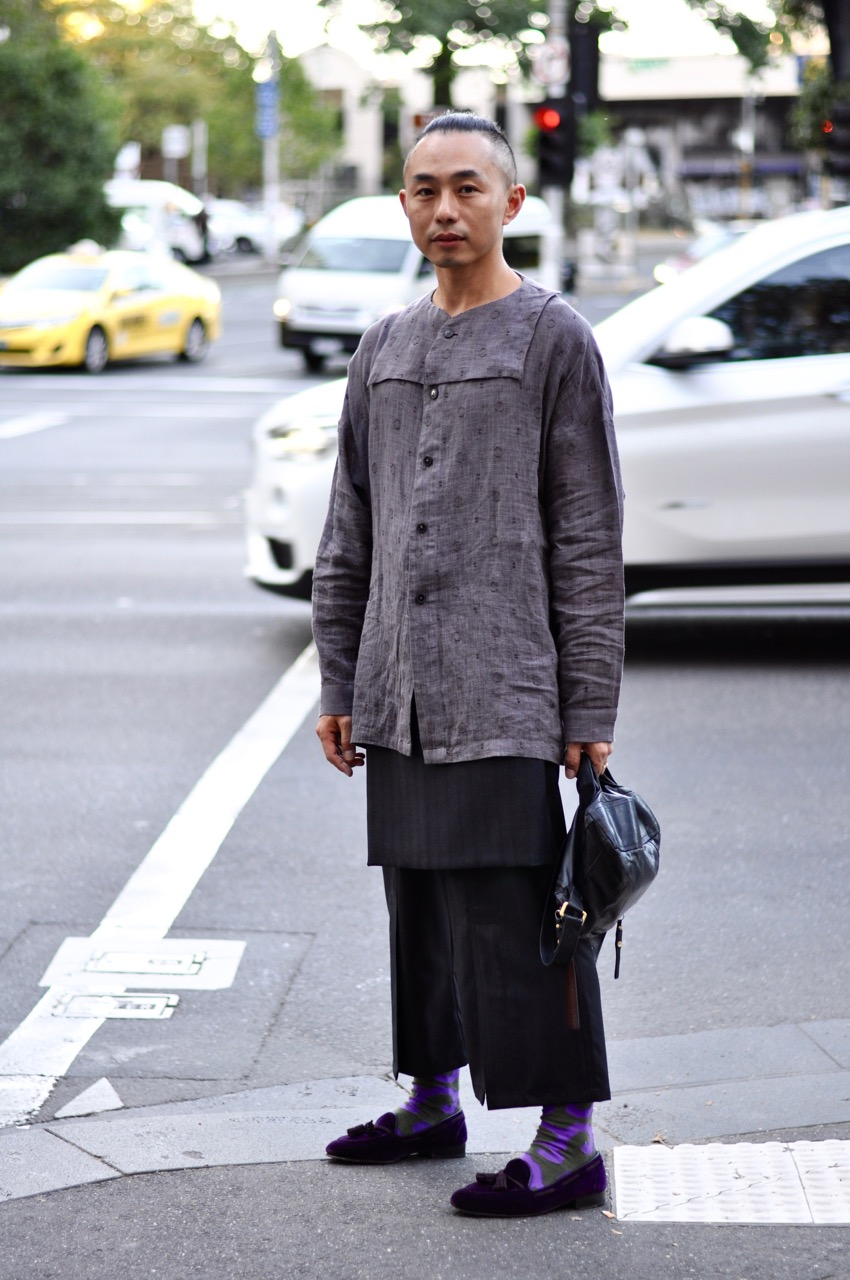 """VIC: Vincent Li, Designer, Victoria St, Carlton. """"I've just come from checking out the Indigenous Runway at VAMFF."""""""