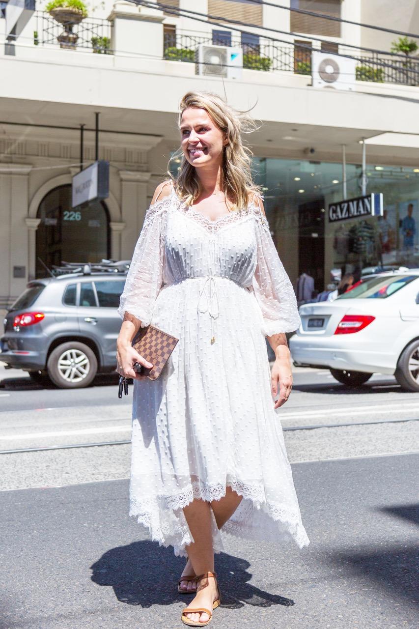 "VIC: Jess, retail assistant, Toorak Rd. ""I like to dress really feminine."" Photo: Libby Matson"