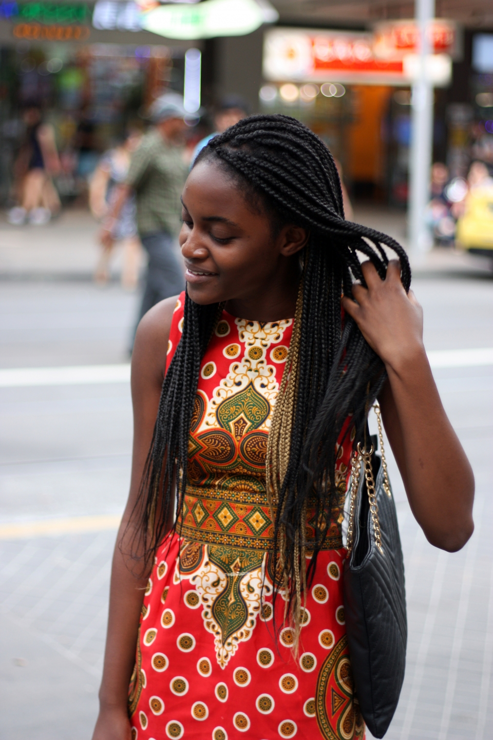 "VIC: Panashe Makuni, student, Melbourne city. ""I like bold colours and prints."" Photo: Mary Tham"