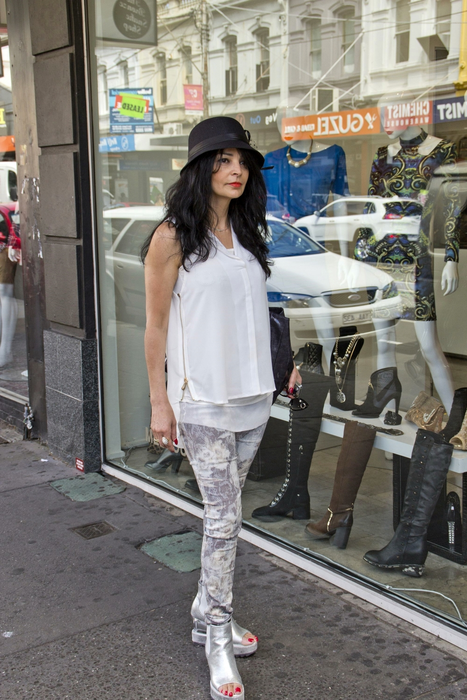 "Roubi Branecki, business owner, Chapel St, South Yarra. ""I am the designer of what I am wearing and own a boutique in South Yarra."" Pic: Les Brown"