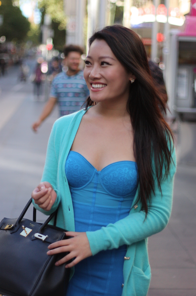 "VIC: Lucy Zhang, Digital Performance Media Manager, Bourke St Mall.  ""I don't follow any trend. I just wear what I feel like that day. Today is sky blue."" Photo: Mary Tham"