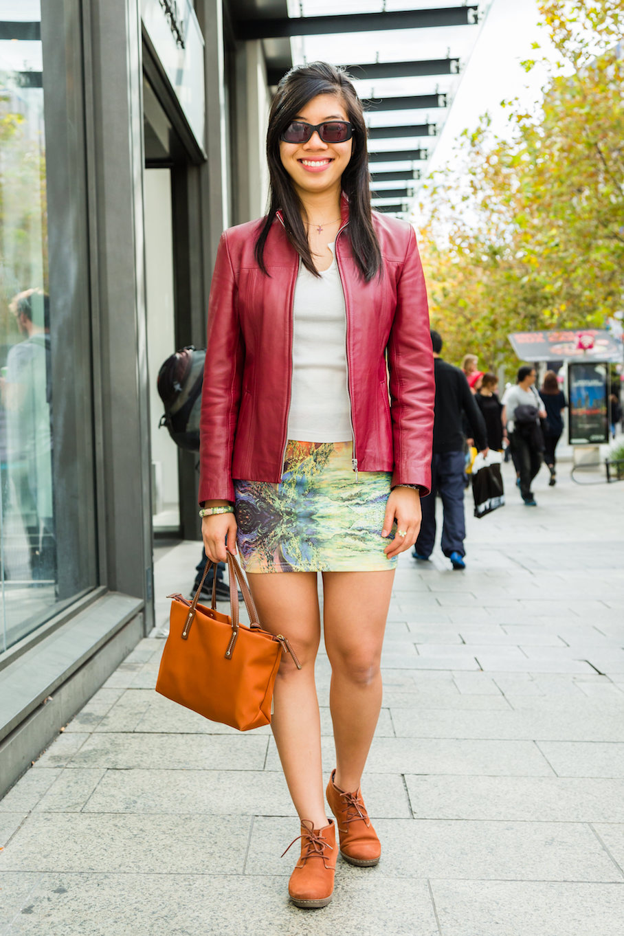 "WA: Joseanne Wong, student, Perth CBD. ""I like to wear colour."" Photo: <a href=""http://www.rahstudios.com.au/street-style.html/"" target=""_blank"">Alain Quah</a>"