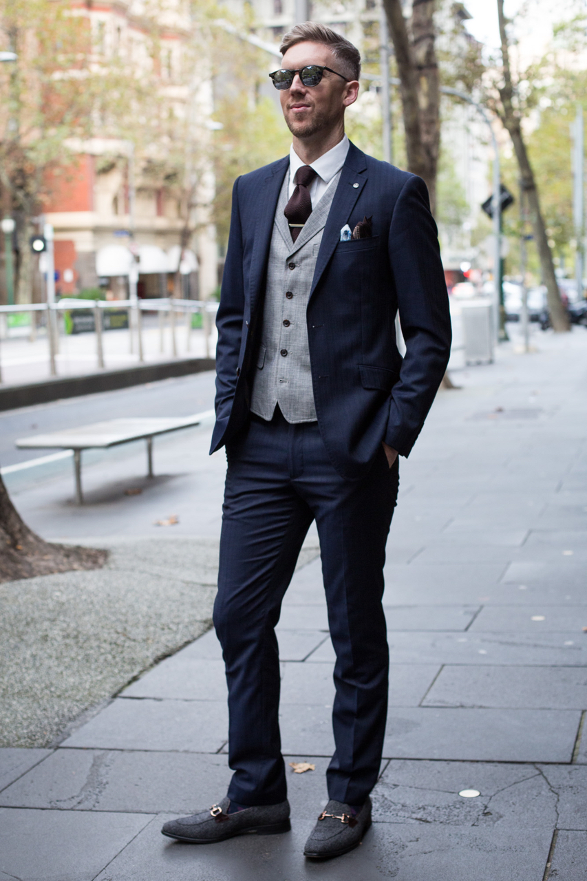 "VIC: Steve Tilly, Collins St Melbourne. ""My style is best described as modern with a splash of colour and texture experimentation. However, this look is more traditional."" Photo: Zoe Kostopoulos"