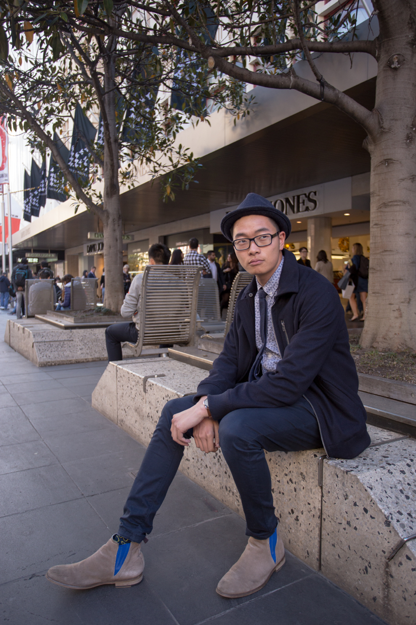 "Vic: David Jim, Sales Assistant, Bourke St Mall. ""My style's a balance between street wear and formal wear."" Photo: Ryan Murch."