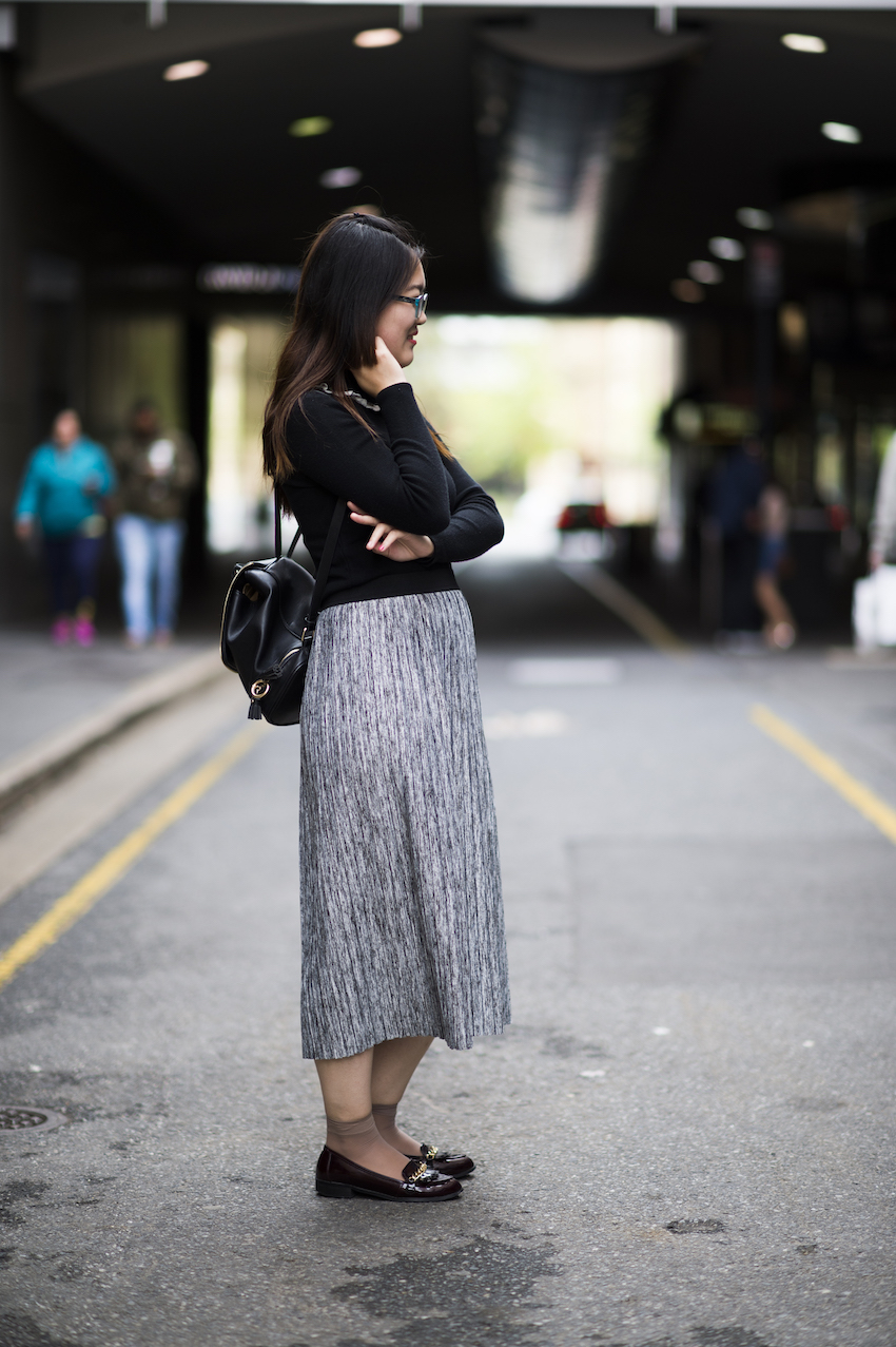"SA: Li Ji, Student, Adelaide. ""My skirt's from French connection."" Photo: Eli Francis"