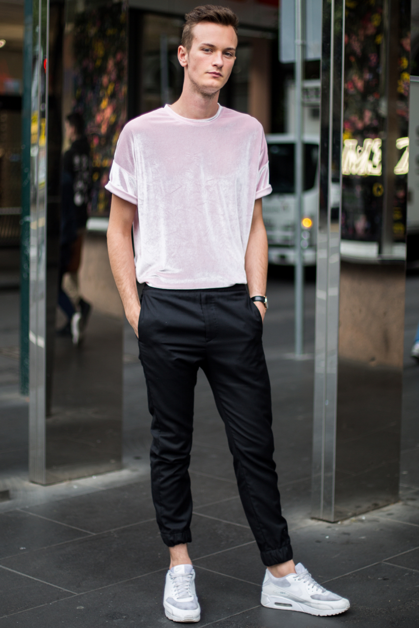 "VIC: Willben Putters, Visual Merchandiser, Elizabeth St, Melbourne. ""I love a sport influenced look with soft colours."" Photo: Zoe Kostopoulos"