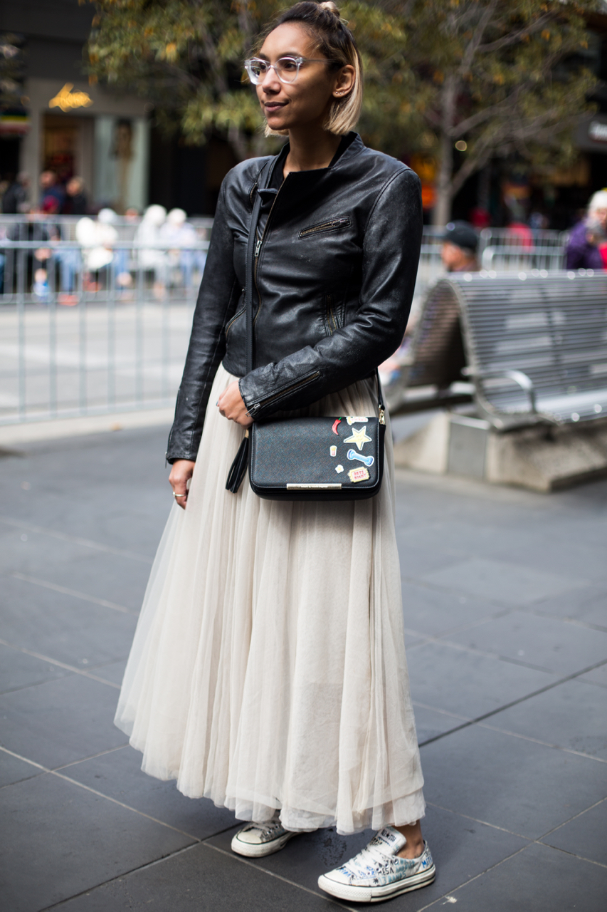 "VIC: Axelle Marjdlinm, Melbourne CBD. ""Every day is fashion."" Photo: Zoe Kostopoulos"