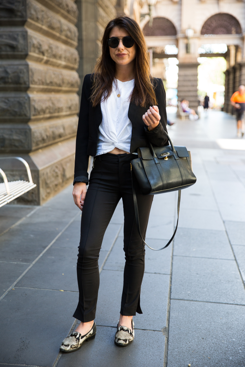 "VIC: Rebekah Hughes, Swanston St, Melbourne. ""Chic."" Photo: Zoe Kostopoulos"