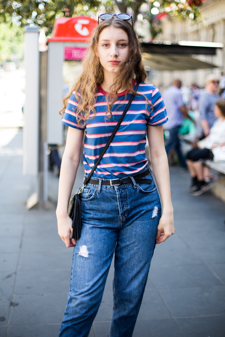 "VIC: Camille Gerrard, Bourke St, Melbourne. ""80s inspired."" Photo: Zoe Kostopoulos"