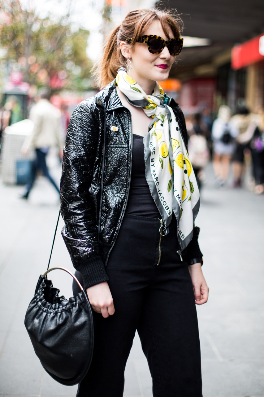 "VIC: Harriet Cherry, Sale Assistant, Bourke St, Melbourne. ""Waiting for a tram."" Photo: Zoe Kostopoulos"