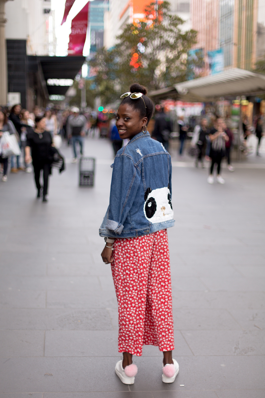 "Vic: Celia-Jane Ukwenya, Stylist, Bourke St, Melbourne.  ""My style is fun and bright. Anything that makes me smile, I buy!"" Photo: Ryan Murch"