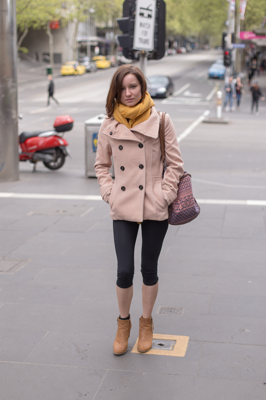 "Vic: Una McAuley,  Personal Assistant, on the corner of Swanston and Elizabeth Streets, Melbourne. ""I go for comfy and warn. I've just been to the gym"" Photo: Ryan Murch"