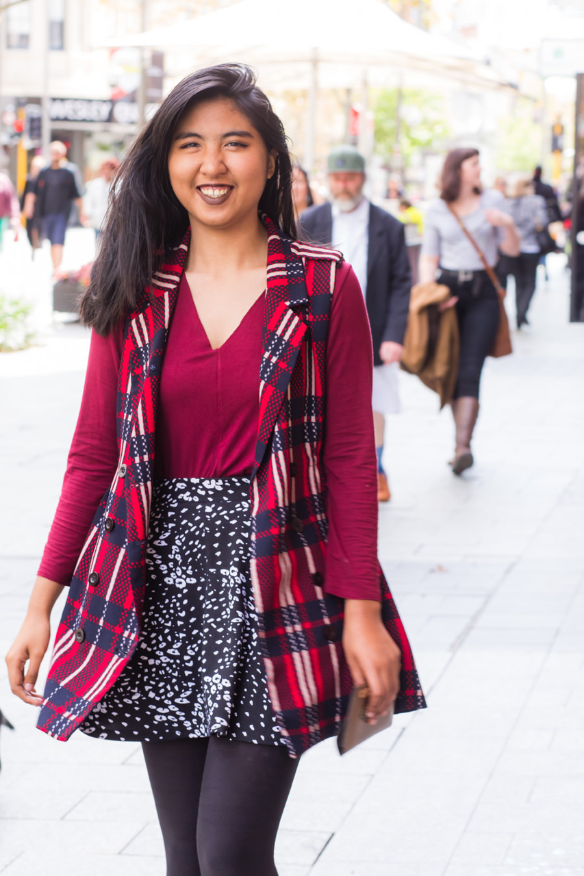 "WA: Wai Yee Le, Student, Perth city. ""I love to wear black, but I love to add colour to my style."" Photo: <a href=""http://www.rahstudios.com.au/street-style.html/"" target=""_blank"">Alain Quah</a>"
