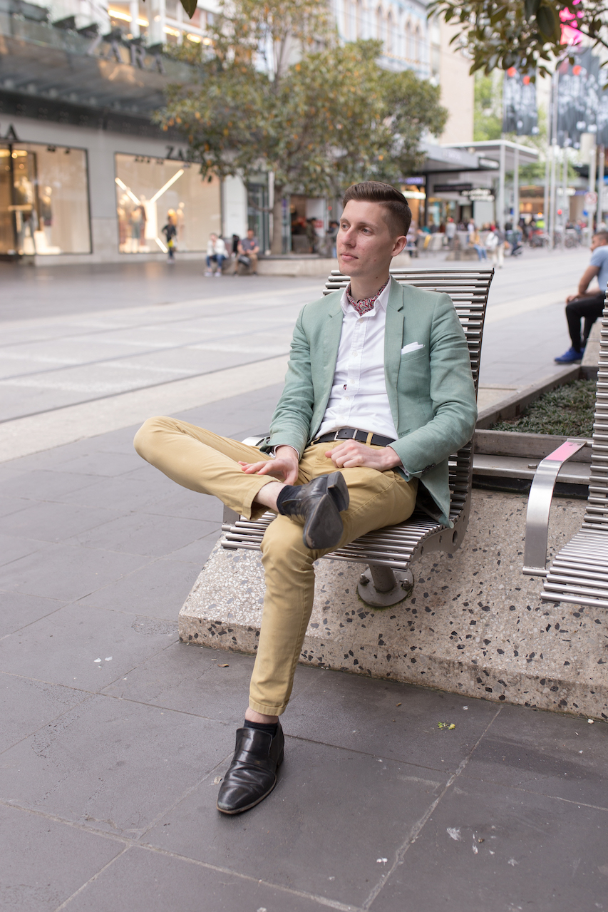 "Vic: Jayden Seric, Web Developer, Bourke St Melbourne. ""I go for the gentlemanly style."" Photo: Ryan Murch"