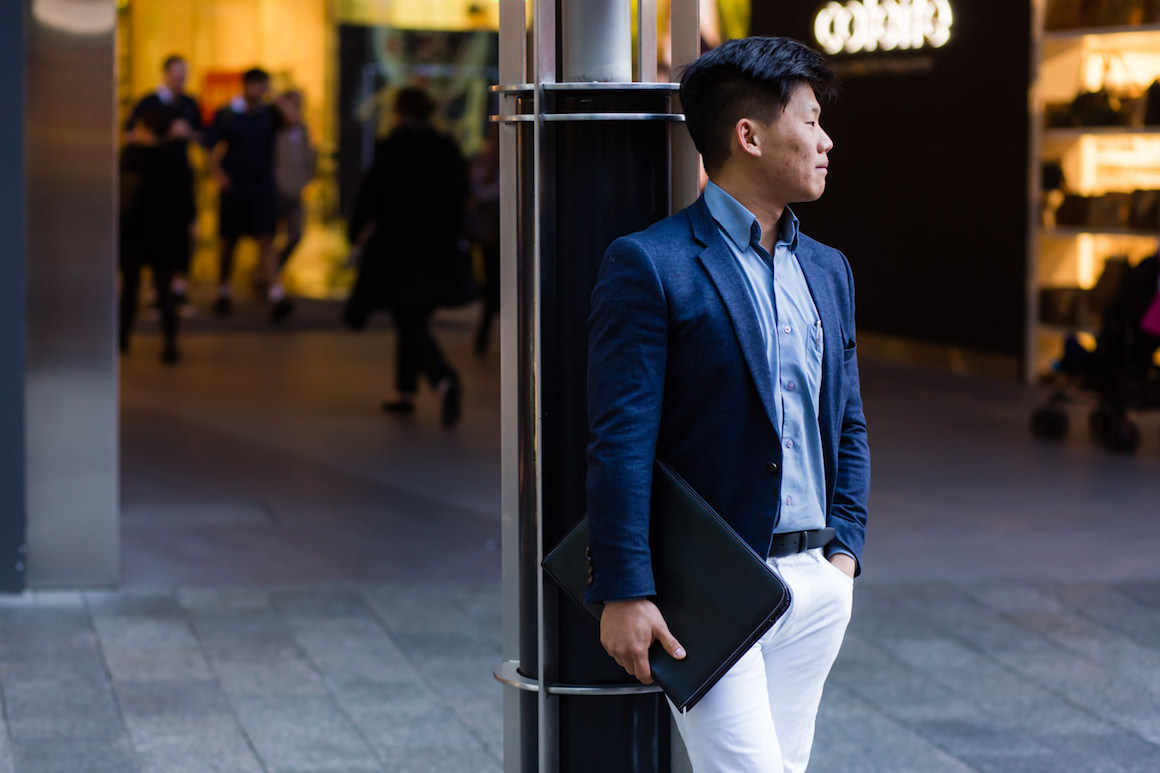 "WA: Wai Soon Leong, Planning Engineer. ""My style's 'spezzato'."" Photo: <a href=""http://www.rahstudios.com.au/street-style.html/"" target=""_blank"">Alain Quah</a>"