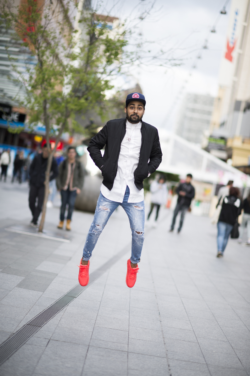 "SA: Ankit Gupta, Sales Assistant, Rundle Mall, Adelaide. ""Was that high enough?"" Photo: Eli Francis"