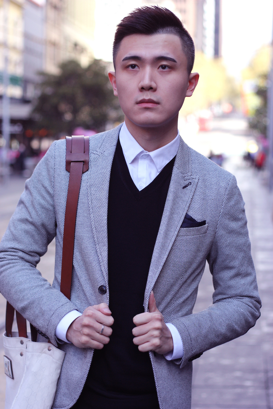"Vic: Lenny Han, Retail Assistant, Bourke Street. ""I prefer a formal work style."" <a href=""http://www.marythamphotography.weebly.com/"" target=""_blank""> Photo: Mary Tham </a>"