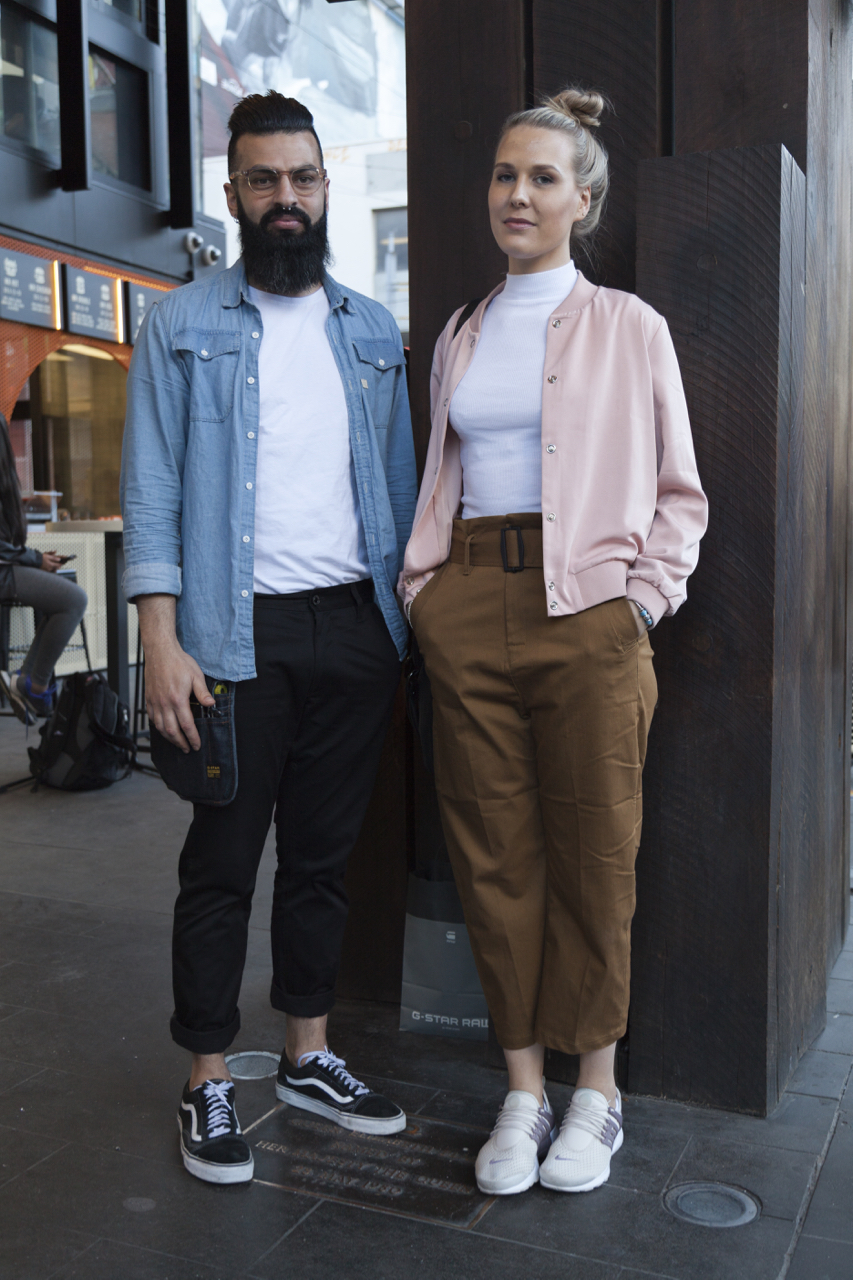 "VIC: Vince Karini ""Hispter"" and Leni Mannisto, ""Minimalistic Melbourne chic with an added jacket always."" Melbourne Central. Photo: Ruth Dradi"