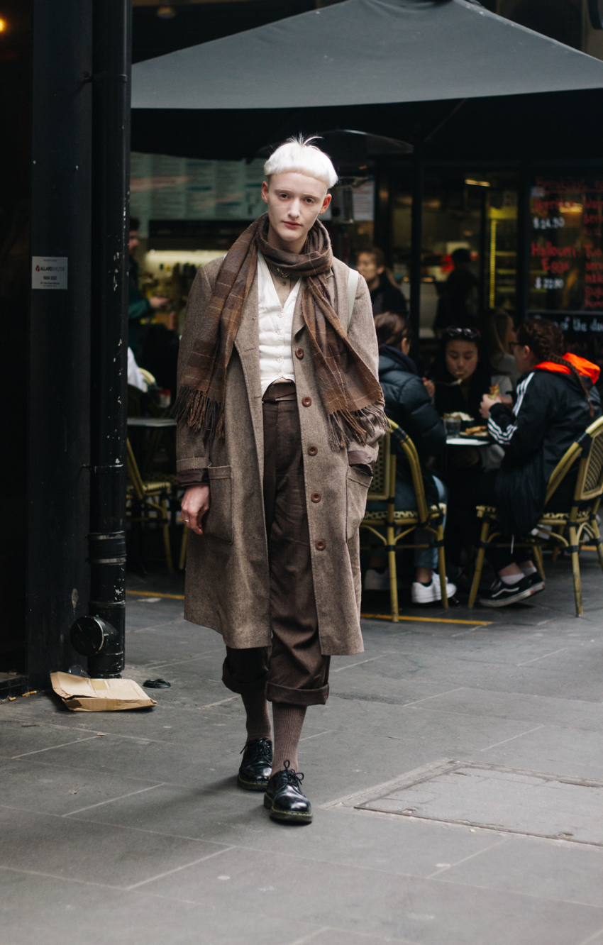 "VIC: Casper Leeuwen, Horticulture Student, Degraves St. ""Going for forties paperboy."" Photo: Callum Woodburn"