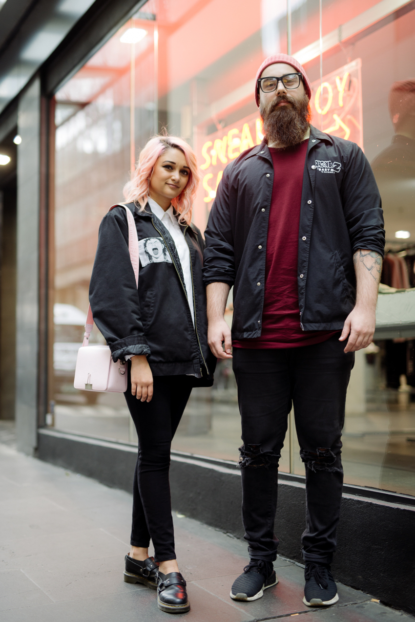 "VIC: Elysa (L) ""Forever monochromatic"" and Starci (R), ""Reformed metal kid."" Little Bourke St."