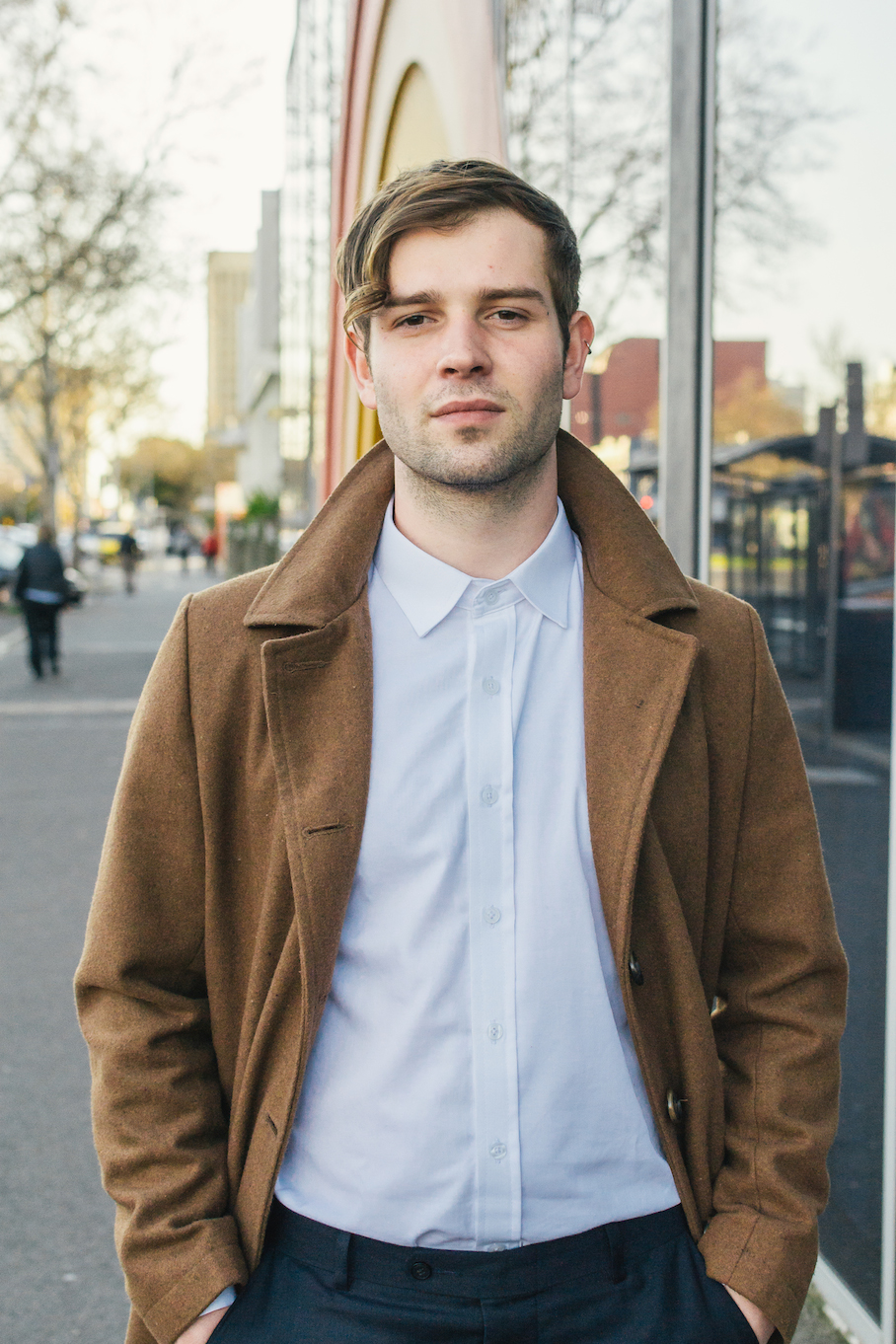 """SA: Will Amherst,  Wakefield St Adelaide. """"I'm from London...I can't believe I have to wear a coat in Australia."""""""