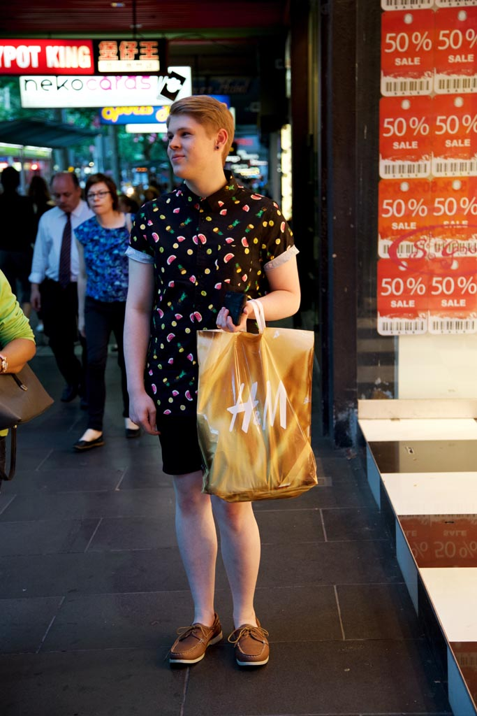 VIC: Trent Ogle, retail assistant, snapped on Swanson Street by Rupert, in Melbourne.