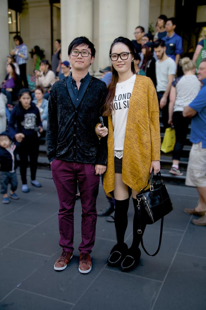 VIC: Joanna and partner, snapped by Kiyoshi-Riki outside the GPO building, Melbourne