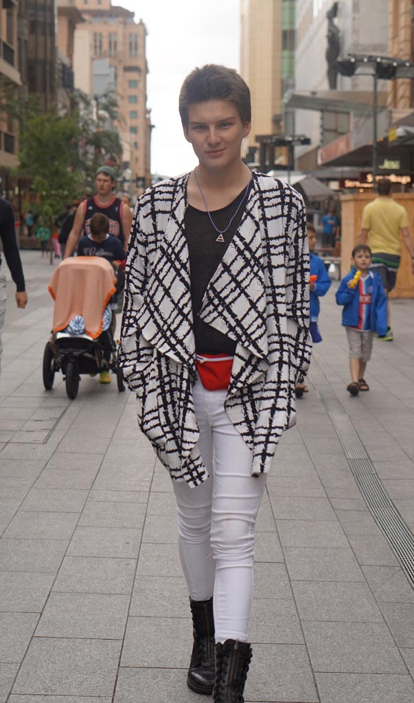 "Adelaide: Joshua Oreo, acting Student, The Mall. ""I don't believe in Fashion."""